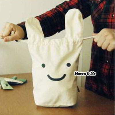 Korean cute fashion travel portable ninja rabbit design storage bag (White)