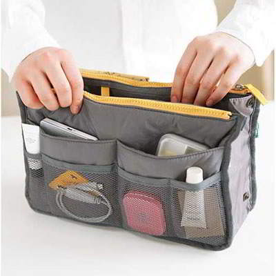 Korean fashion thickened strap portable multifunctional double zipper cosmetic storage bag (1pcs price) (Gray)