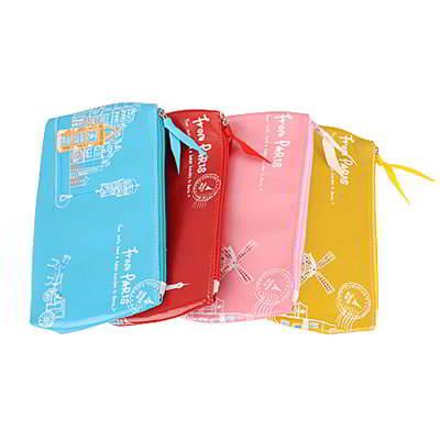 Korean creativity fashion paris scenery pattern design pencil bag (1pcs price) (Color will be random)