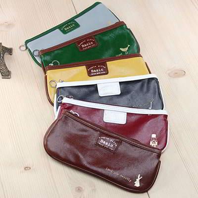 Korean creativity fashion pu leather design pencil bag (1pcs price) (Color Will Be Random)