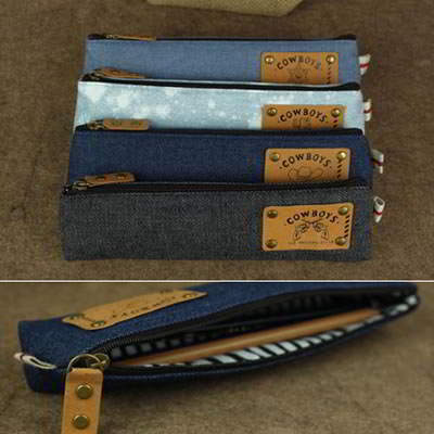 Korean creativity fashion vintage jeans design pencil bag (1pcs price) (Color Will Be Random)