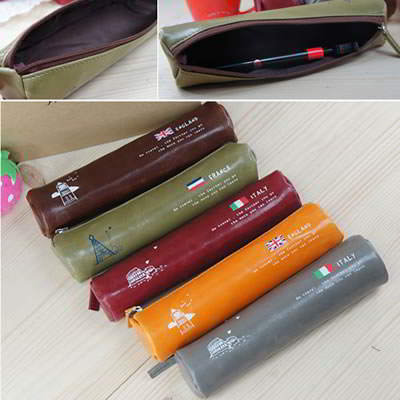 Korean creativity fashion national flag pu leather outside pencil bag (1pcs price) (Color Will Be Random)