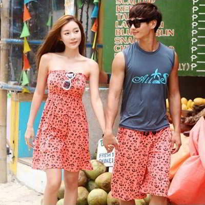Korean fashion lover beach suit girl dress+man pants (Pink Leopard) (Size S, M, L. Contact Live Chat)