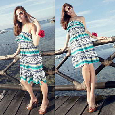 Bohemian style fashion cotton tube top beach dress (Picture Color) (Size S, M, L. Contact Live Chat)