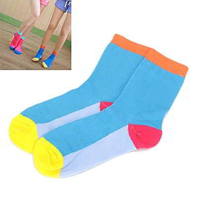 Korean sweet fashion candy color matching cotton socks (Blue+Orange)
