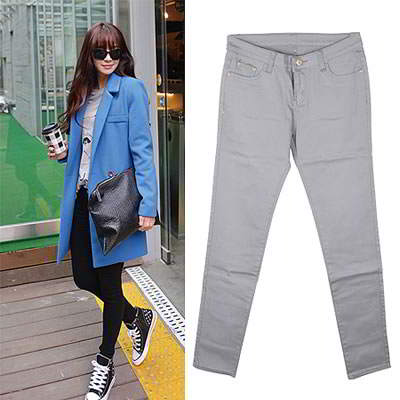 Korean sweet fashion candy color fit slim elastic jeans (Dark Gray)