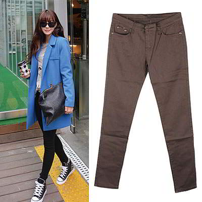 Korean sweet fashion candy color fit slim elastic jeans (Coffee)