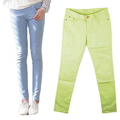Korean sweet fashion candy color fit slim elastic jeans (Fruit Green)