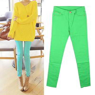 Korean sweet fashion candy color fit slim elastic jeans (Grass Green)