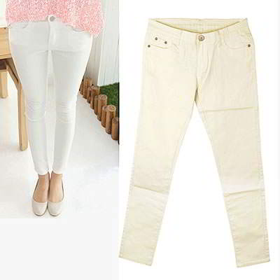 Korean sweet fashion candy color fit slim elastic jeans (Beige)