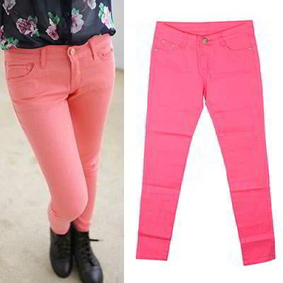 Korean sweet fashion candy color fit slim elastic jeans (Plum Red)