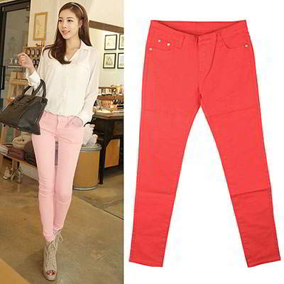 Korean sweet fashion candy color fit slim elastic jeans (Red)