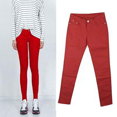 Korean sweet fashion candy color fit slim elastic jeans (Claret Red)