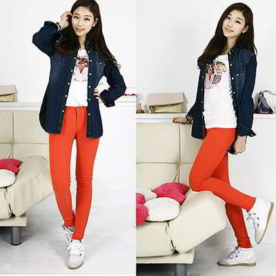 Korean sweet fashion candy color fit slim elastic jeans (Orange Red)