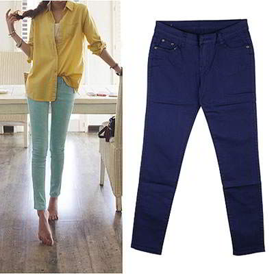Korean sweet fashion candy color fit slim elastic jeans (Dark Blue)