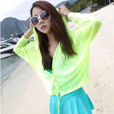 Korean fashion transparent UV protection ultrathin cardigan clothes (Fluorescence Green)