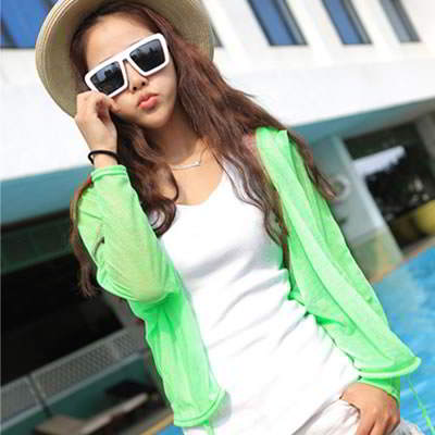 Korean fashion transparent UV protection ultrathin cardigan clothes (Grass Green)
