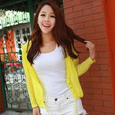 Korean fashion transparent UV protection ultrathin cardigan clothes (Yellow)
