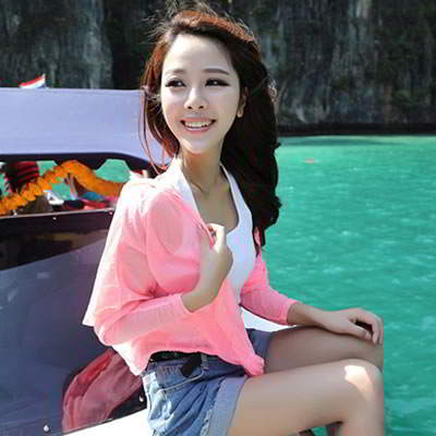 Korean fashion transparent UV protection ultrathin cardigan clothes (Fluorescence Pink)