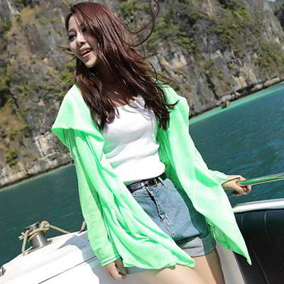 Korean fashion candy color transparent UV protection ultrathin cardigan clothes (Grass Green)