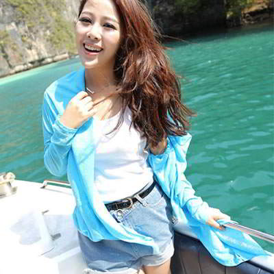 Korean fashion candy color transparent UV protection ultrathin cardigan clothes (Lake Blue)