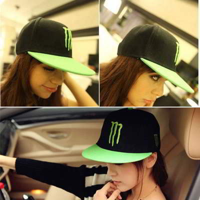 Korean personality fashion fluorescent color baseball hip hop hat (Blac+Green)