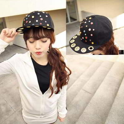 Korean personality fashion decorated with color bead cricket cap hat (Blac+Multicolour)