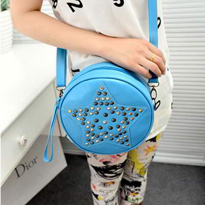 Famale Blue Pentagram Shape Rivet PU Handbags