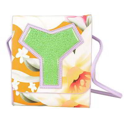Green Flower Pattern PU Shoulder bags