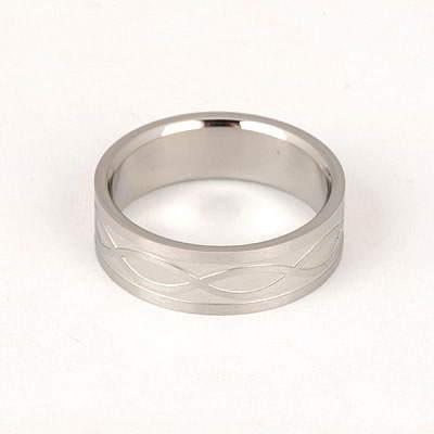 Girls Silver Color Wave Design Titanium Fashion Rings