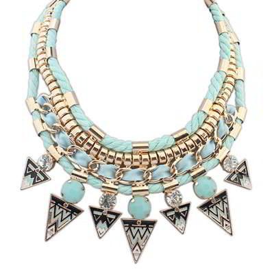 gemstone decorated triangle pendant design