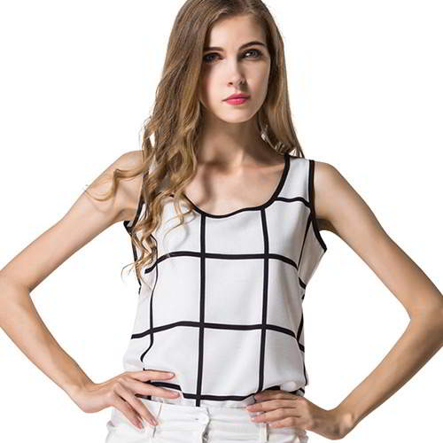 colr matching grid sleeveless tank tops