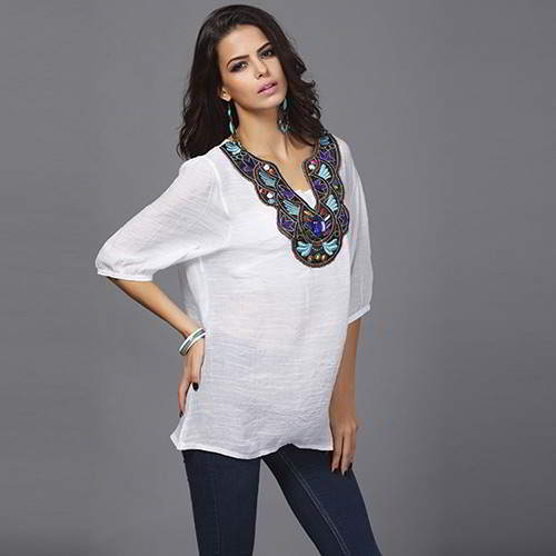 embroiedry three quarter sleeve loose blouses
