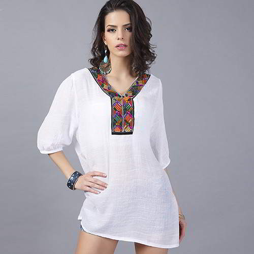 embroiedry Y shape collar loose half sleeve blouses