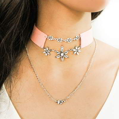 ZARA Choker flower pendant double layer necklace