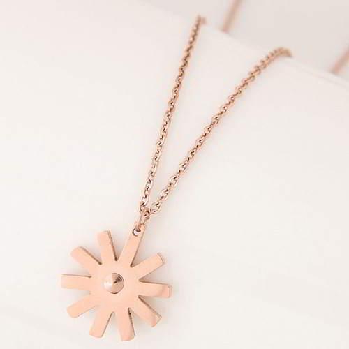 minimalist sunflower simple necklace Titanium steel rose gold plated 18k