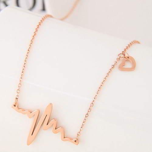 minimalist electrocardiogram simple necklace Titanium steel rose gold plated 18k