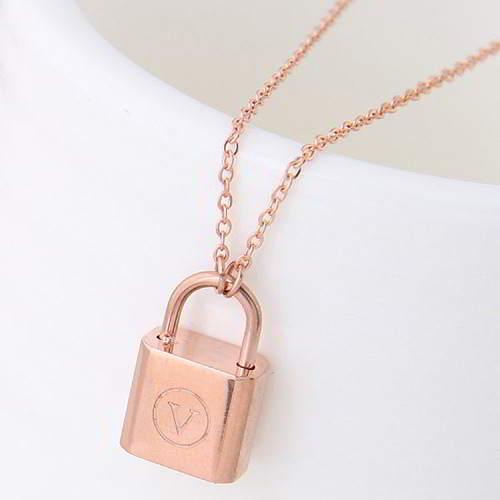 minimalist lock simple necklace Titanium steel rose gold plated 18k