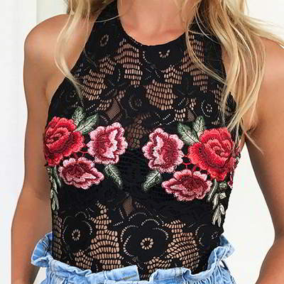 embroidery flower sexy jumpsuit
