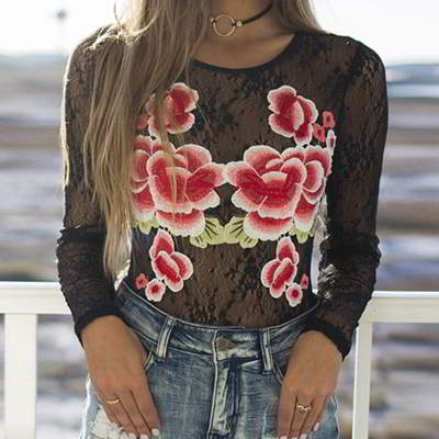 embroidery flower Sleeves Shirt