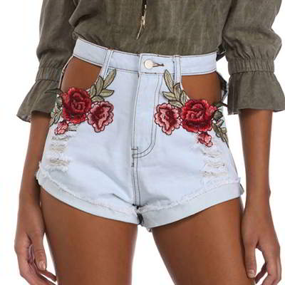embroidery flower shorts