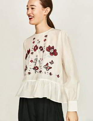 embroidered fabric long sleeved shirt