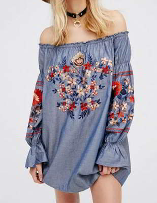 embroidered fabric off shoulder blouse