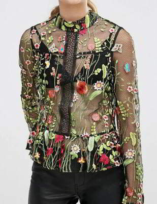 embroidered fabric perspective long sleeved shirt