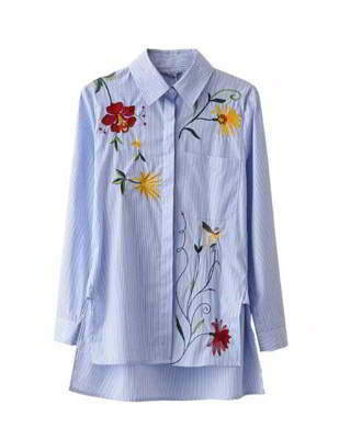 embroidered fabric long sleeved sark