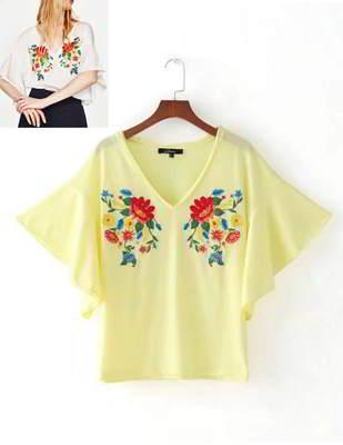 embroidered fabric mandarin sleeve shirt