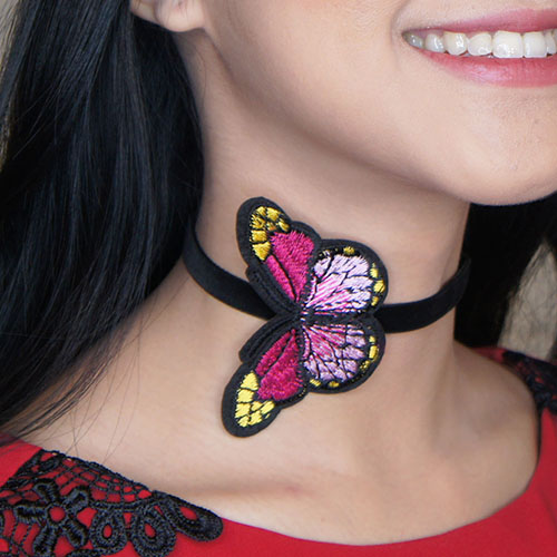 embroidery necklace flannel butterfly