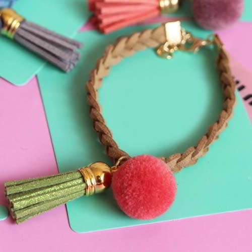 JRK Kids PomPom woven leather tassel bracelet