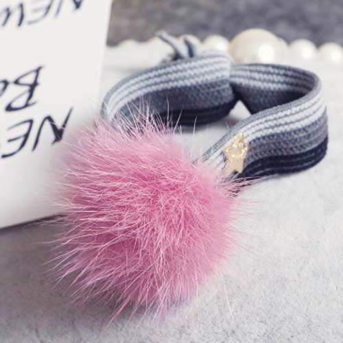 PomPom Stripped mink ball hair band