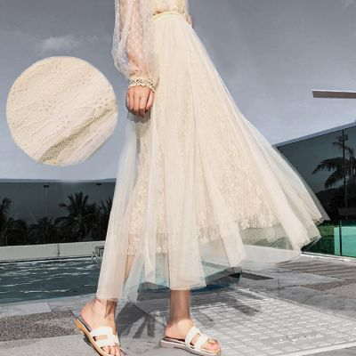 Lace Skirt Hook Flower Long / Rok Tutu Import Premium